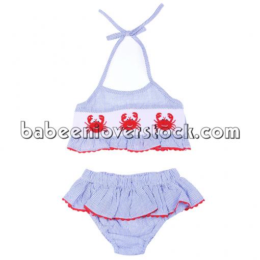 Cute crab smocked swimwear for girl - BB944A