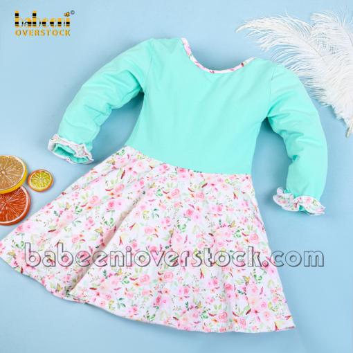 Name monogram mint dress for little girls - BB2382