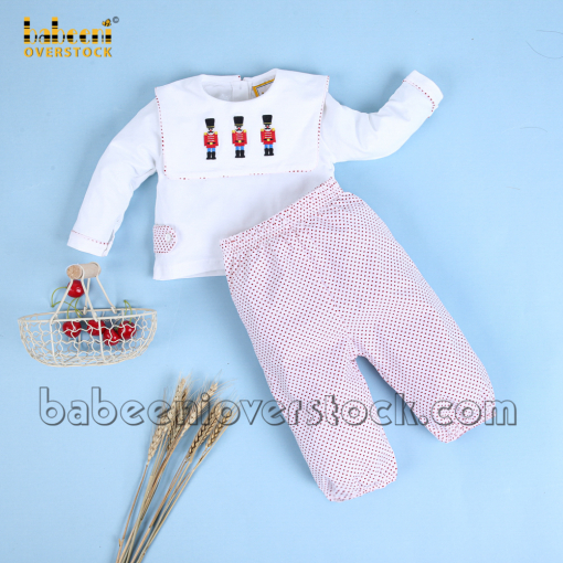Cute embroidery kin soldiers dotted boy long set - BB1993