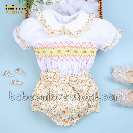 Floral geometric smocked girl clothing - BB2392
