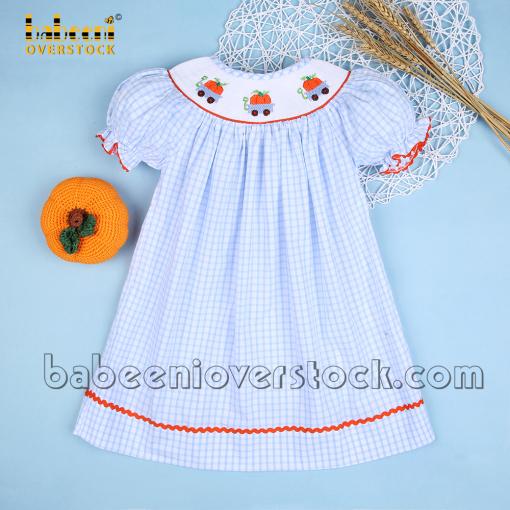 Pumpkin carts hand smocked little girl dress - BB2177