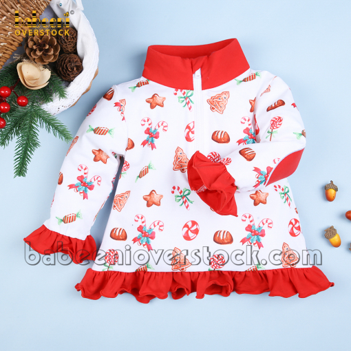 Vintage girl pullover Christmast candy print - BB2425
