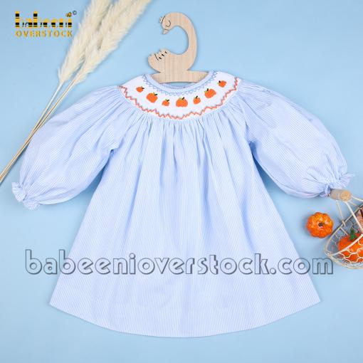Thanksgiving pumpkin smock bishop dress baby blue stripe - BB2277