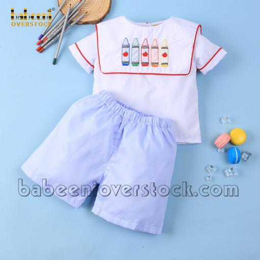 Embroidery crayon boy set blue pique - BB2152