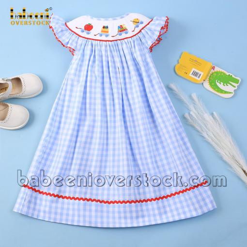 Back to school girl smock dress blue check - BB2156B