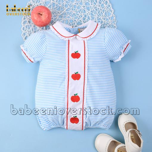 Red apple girl bubble blue stripe knit - BB2162