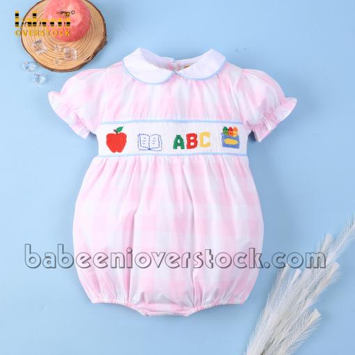 ABC smock girl bubble pink large check - BB2165