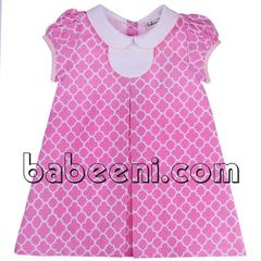 pink-quatrefoil-a-line-dress